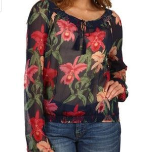 NWT Lucky Brand By Dale Hope Sheer Floral Top